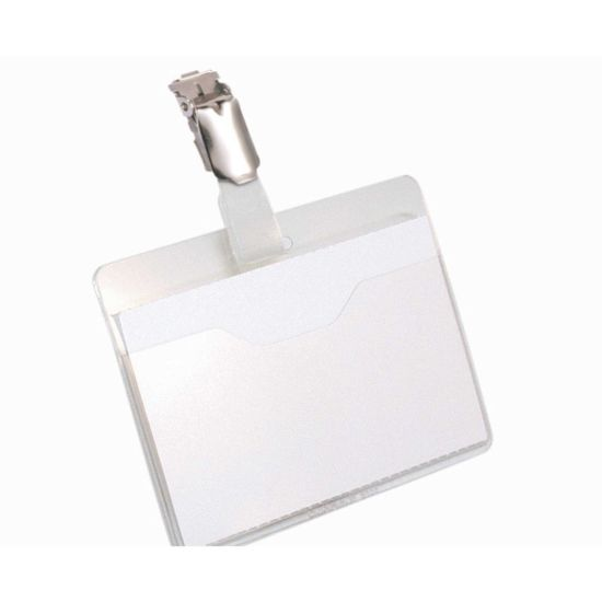 Durable Visitor Badge and Rotating Clip 60x90mm Pack of 25