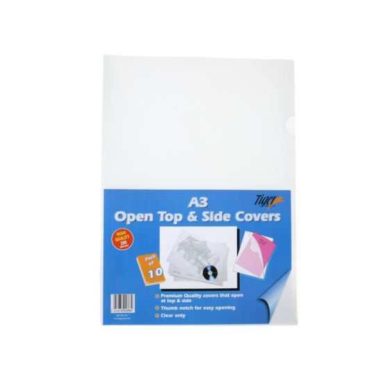 Tiger Open Top and Side Covers A3 Pack of 10