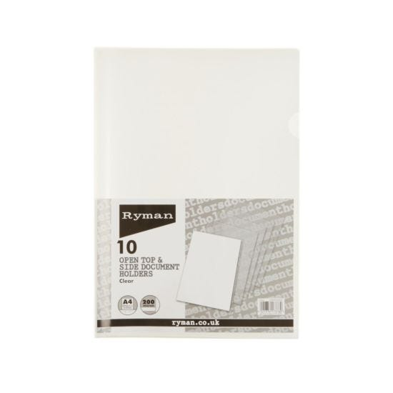 Ryman Translucent Document Holder A4 200 Micron Pack of 10 Clear