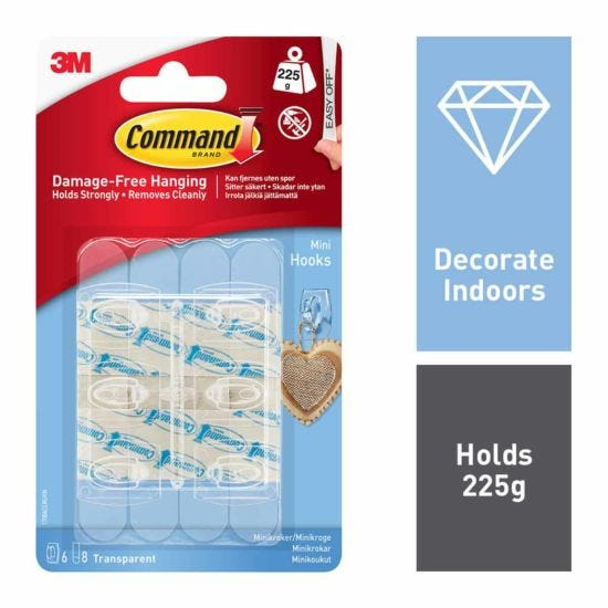 3M Command Mini Clear Hooks With Clear Strips