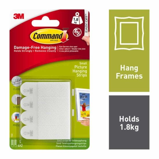 Command Picture Hanging Strips Sm Pack of 4 17202 White