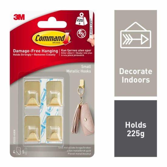 Command Metallic Hooks Small Pack of 4