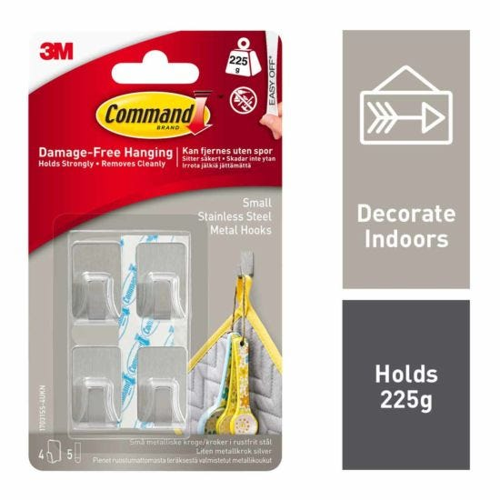 Command Metallic Hooks Small Pack of 4 Stainless Steel