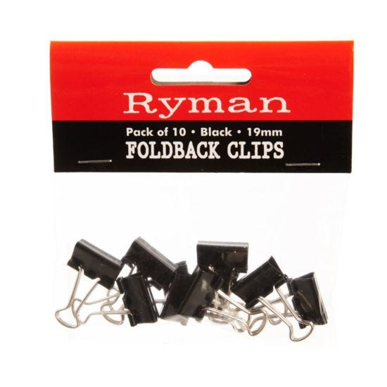 Ryman FoldBack Clips Pk of 10 19mm