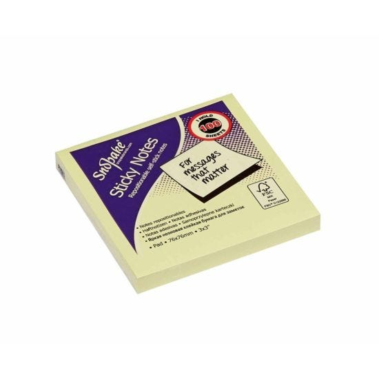 Snopake Sticky Notes 76x76mm 100 Sheets Yellow