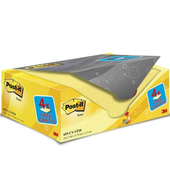 Post-it Notes Canary Yellow 76x127mm Pack of 20