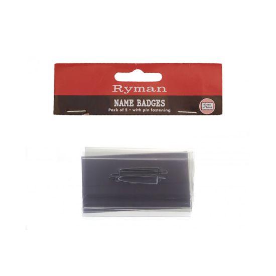 Ryman Pin Name Badge 40 x 75 mm