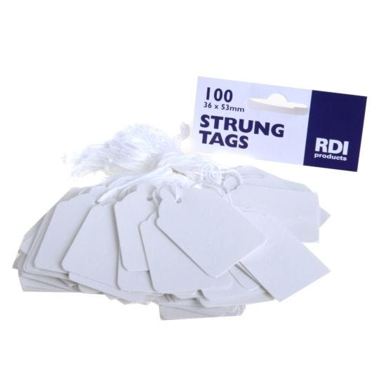 Strung Tags 36x53mm Pack of 100