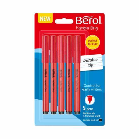 Berol Handwriting Pens Black Pack of 5