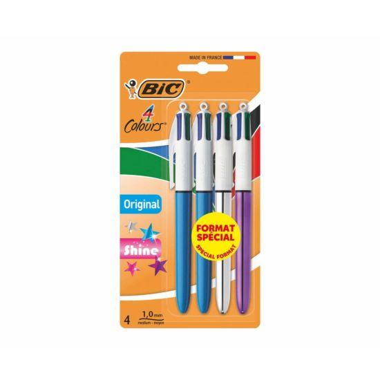 BiC 4 Colour Ballpoint Pens Standard/Shine Pack of 4