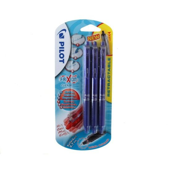 Pilot Frixion Clicker Pack of 3 Blue