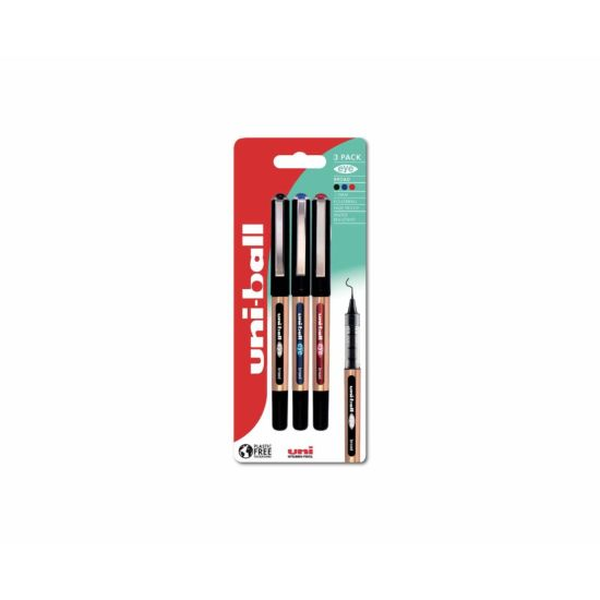 uni-ball UB-150 Broad Rollerball Pen Plastic Free Packaging Pack of 3 Assorted