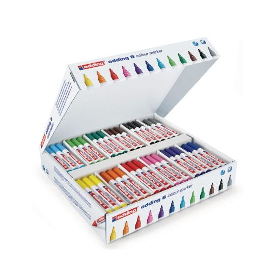 Edding Colourmarkers Chisel Classpack of 144 Pens