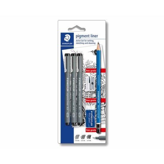Staedtler Pigment Liner Pack of 3 and  Pencil Eraser Sharpener Set