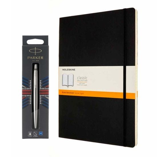Parker Jotter Stainless Steel Ballpoint Pen and Moleskine A4 Notebook Bundle