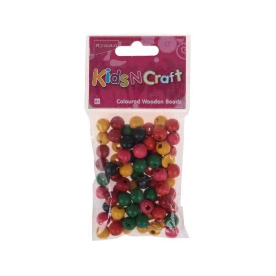 Ryman Activity Kit Wooden Beads Round