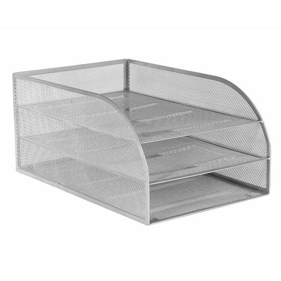 Osco Mesh Assembled 3 Tier Letter Tray Silver