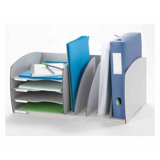 Fast Paper 4 Compartment Desk Organiser Grey