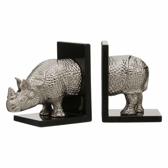 Premier Housewares Set of 2 Bookends Marble Rhino