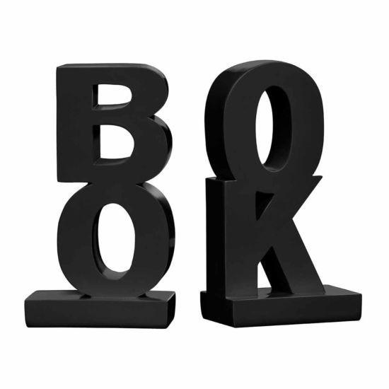 Premier Housewares Set of 2 Bookends Book Design Black