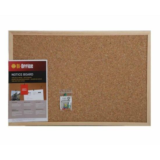 Bi-Office Cork Notice Board 585x385mm Pine