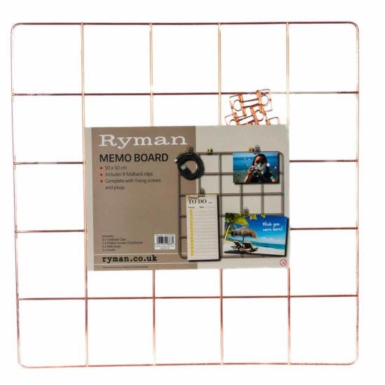 Ryman Memo Board 500x500mm and Clips Rose Gold