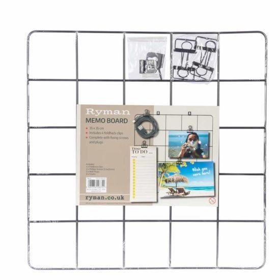 Ryman Memo Board with Clips 350x350mm Black