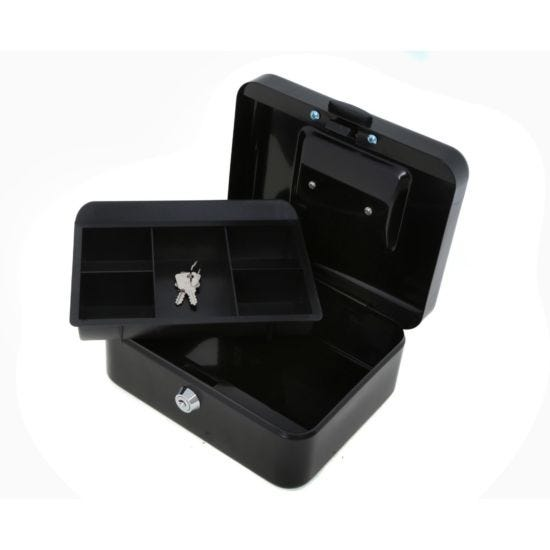 Ryman Button Release Cash Box H90xW200xD170mm Black