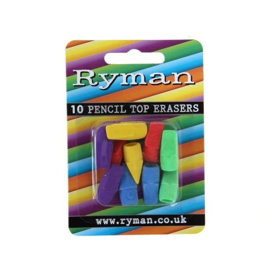 Ryman Pencil Top Erasers Pack of 10