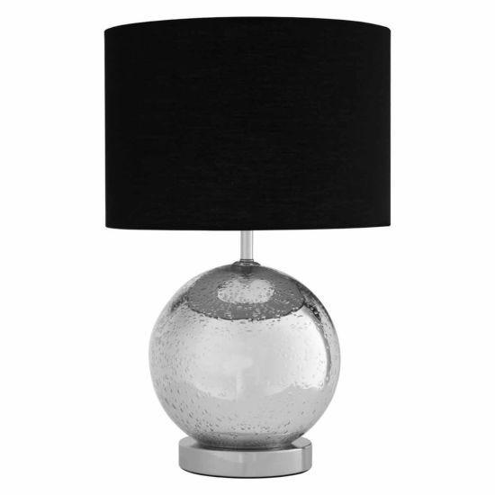 Premier Housewares Naomi Table Lamp with Chrome Glass Base