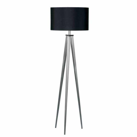 Premier Housewares Satin Nickel Tripod Floor Lamp Black Shade
