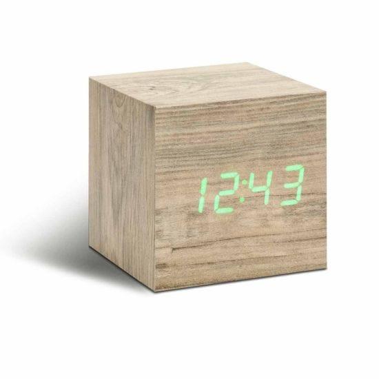 Gingko Cube Click Clock Ash