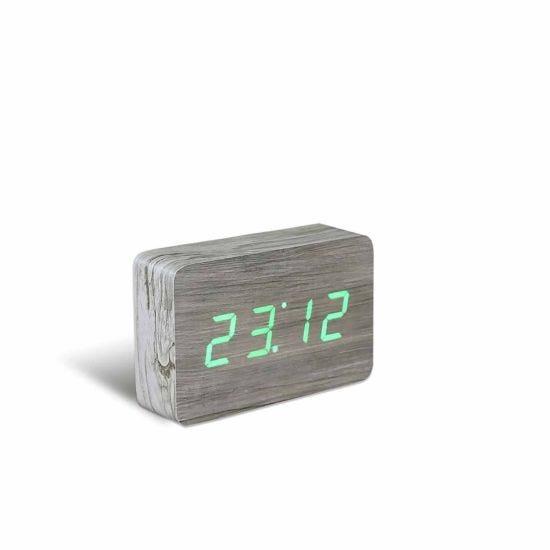 Gingko Brick Click Clock Ash