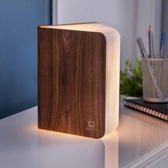 Gingko Large Smart Wooden Book Light Walnut
