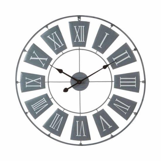Premier Housewares Metal Wall Clock 90cm Grey