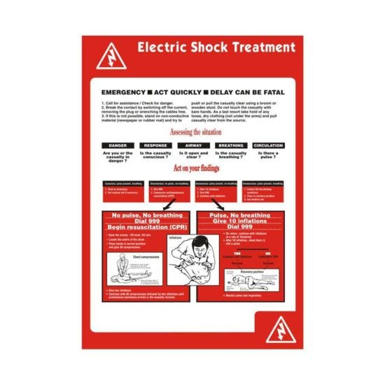 A2 Electric Shock Sign Poster