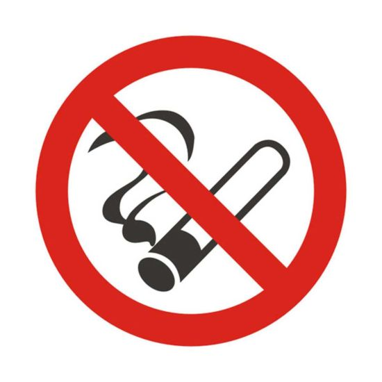 No Smoking Vehicle Sign 90mm Diameter Pack of 5