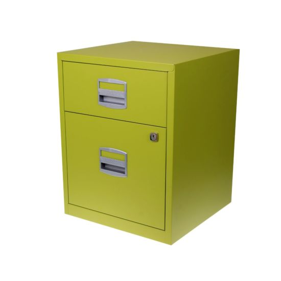 Bisley A4 2 Drawer Filing Cabinet on Wheels Green
