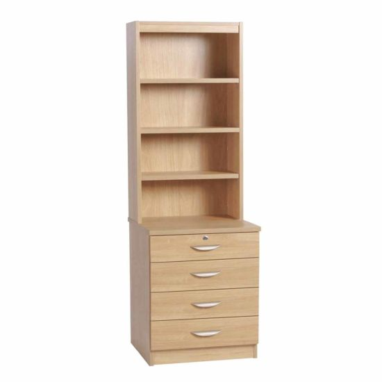 R White Four Drawer Chest with OSD Hutch 600mm Wide Classic Oak