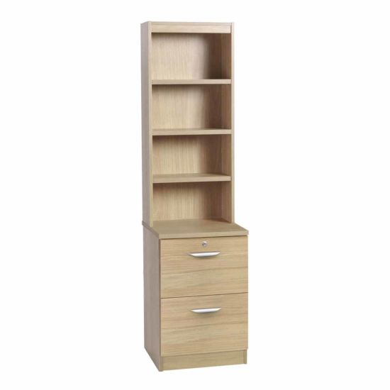 R White 2 Drawer Filing Cabinet With Overshelving Sandstone