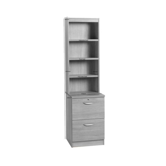 R White 2 Drawer Filing Cabinet With Overshelving