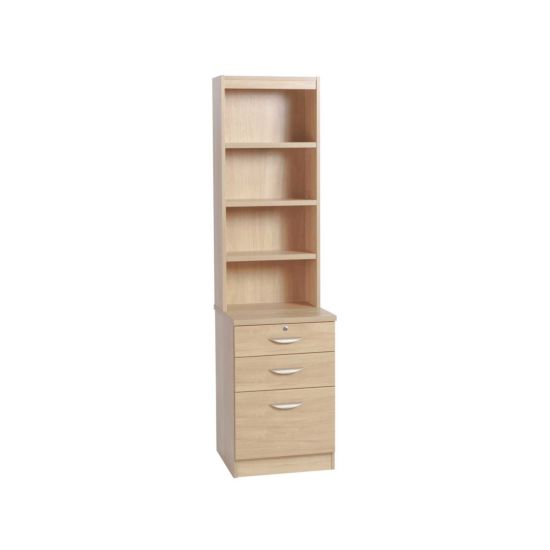 R White 3 Drawer Filing Cabinet with Overshelving