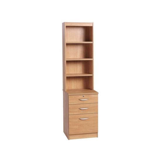 R White 3 Drawer Filing Cabinet with Overshelving Classic Oak Wood Grain