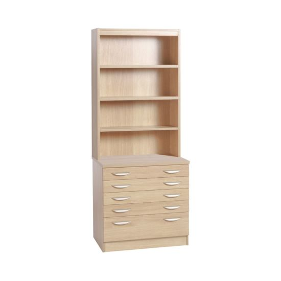 R White Professional 5 Drawer A2 Plan Chest with Overshelving