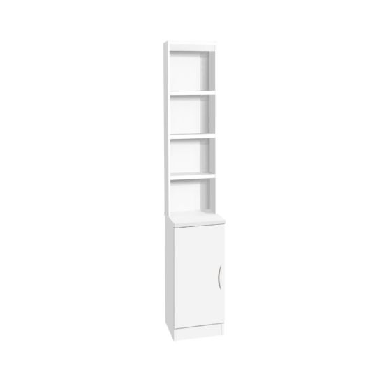 R White Desk Height Narrow Cupboard 30cm with Overshelving White Satin