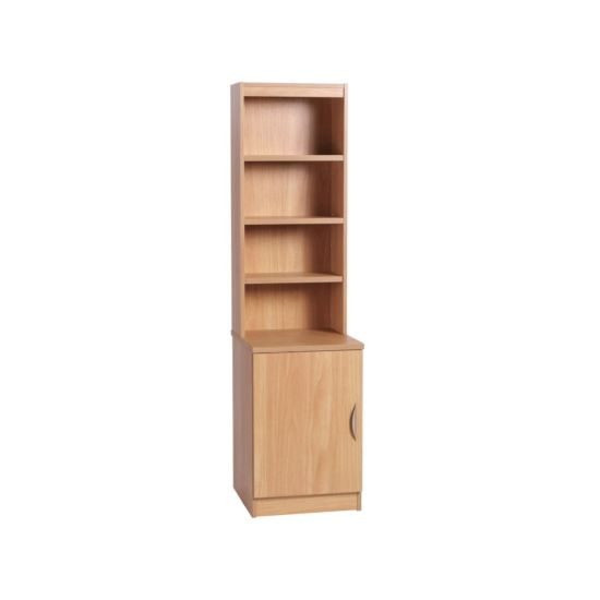 R White Desk Height Wide Cupboard 48cm with Overshelving Classic Oak Wood Grain