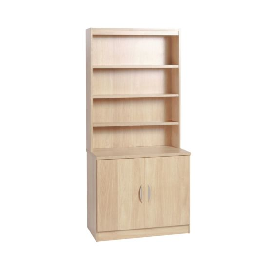 R White Desk Height Cupboard 85cm with Overshelving