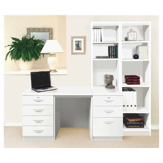 R White Home Office Desk with Side Shelving White
