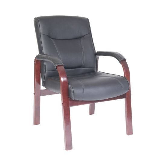 Teknik Office Kingston Leather Faced Visitor Chair Black Mahogany