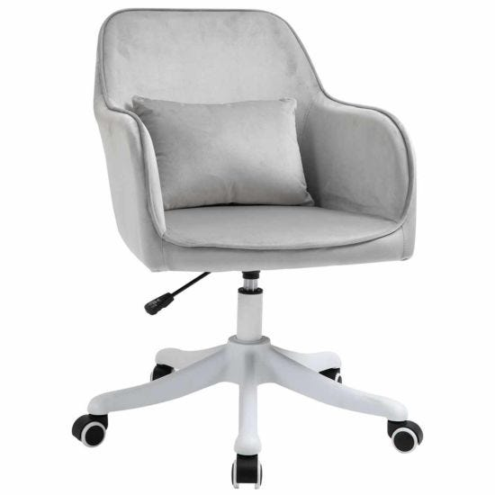 Ophelia Velvet Tub Office Chair with Massage Pillow Grey